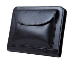 Executive Leather Portfolio with Notepad Space, 11-inch MacBook and iPad Pockets, Black | iCarryalls Leather Fashion