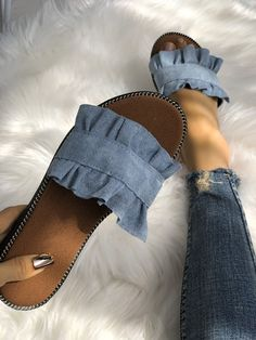 f2555ff5d4741 Ruffles Hem Casual Summer Slipper Summer Slippers, Slip On, Sandals, Jeans,  Heeled