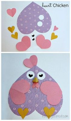 6 Heart Shaped Animals with FREE printable PDF's ~ Heart Shaped Chicken  Valentine crafts for kids