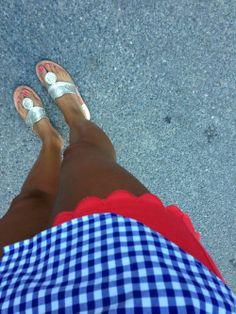 blue gingham oxford, red chino shorts, jacks
