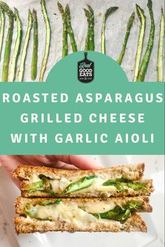 All the goodness of traditional grilled cheese but boosted with veggies and garlic aioli. Perfect for lunch or a quick weeknight meal. #grilledcheese #asparagus #healthyrecipe #recipes #easyrecipe Quick Weeknight Meals, Easy Meals, Garlic Aioli, Cooking For One, Whole Grain Bread, Asparagus, Dinner Ideas, Roast, Veggies