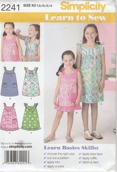 d375f9f6f439 Girls Dress Pattern Learn to Sew Uncut Girls Size 7 - 8 - 10 - 12 - 14  Simplicity 2241