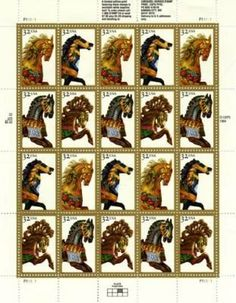Carousel Horses 20 x 32 Cent U.S. Postage Stamps 1994 by US Postal Service. $6.99. One (1) full sheet of the Carousel Horses 20 x 32 Cent Postage Stamps 1998 United States Postage stamps In mint condition.