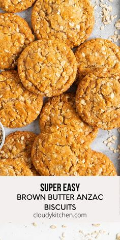 Brown Butter Anzac Biscuits - these traditional Anzac biscuits are chewy and oaty, and are made with brown butter and honey for a perfect depth of flavour. This is a quick Anzac biscuit recipe, and is perfectly soft and chewy. Recipe For Anzac Biscuits, Biscuit Recipe, Yummy Treats, Yummy Food, Yummy Recipes, Homemade Pastries, Brown Butter, Kitchen Recipes, Pizza