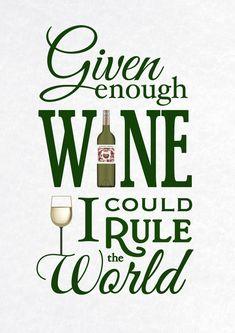 Wine Wall Art Wine Print Typographic Print Wine by oflifeandlemons Wine Jokes, Wine Meme, Wine Funnies, Funny Wine Quotes, Fun Quotes, Sarcastic Quotes, Funny Memes, Hilarious, Wine Wall Art
