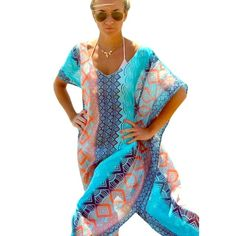 """Beach Dress Swimsuit Bikini Cover Up Women's Chiffon Robe Beach Dress Swimsuit Bikini Cover Up.  Material: Chiffon,Machine cutting,the Pattern does Not Exactly Match the Photo Size:One Size Fits all, relaxed fit.                            one size fit all,and it come to US size 3XL,bust is 112cm/42"""" Swim Coverups"""