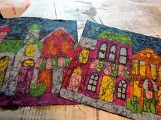 cool  DIY batik. melted crayons and spray on fabric paint.