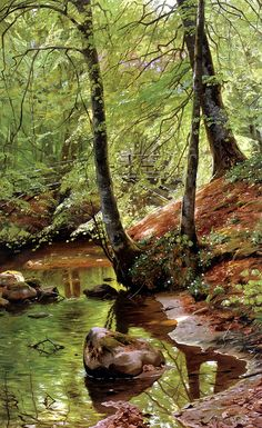 Peder Mork Monsted (Peder Mork Mønsted) A Forest Stream Oil On Canvas 85 x 54 cm x Reminds me so much of my favorite nature hangouts. Landscape Art, Landscape Paintings, Wow Art, Fine Art, Beautiful Paintings, Painting Inspiration, Painting & Drawing, Oil On Canvas, Scenery