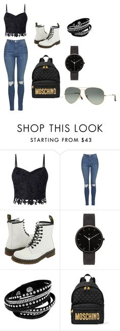 """""""Streetwear"""" by tay-5702 on Polyvore featuring Lipsy, Topshop, Dr. Martens, I Love Ugly, Moschino and Ray-Ban"""