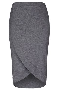 City Chic - COOL WRAP SKIRT - Women's Plus Size Fashion PLUS: color, slight texture, curved hem --- kinda looks like my face shape upside down…, sarong style wrap, band is medium width; MINUS: ? hi-low too angular for me???