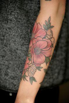 Alice Carrier is a tattoo artist at Wonderland Tattoo in beautiful Portland, Oregon. Born on the. Classy Tattoos, Feminine Tattoos, Cute Tattoos, Tatoos, Tattoo Skin, Tattoo You, Different Styles Of Tattoos, Bouquet Tattoo, Forearm Flower Tattoo