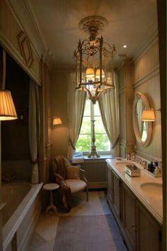 Pieter Porters French Country Lighting, Parisian Bathroom, Romantic Room, Toilet Room, Bathroom Light Fixtures, Paris Apartments, Powder Rooms, Bath Decor, Bathroom Styling