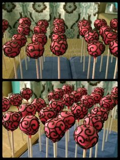 Pink and black cake pops!