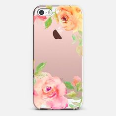 Casetify iPhone SE Classic Snap Case - Pretty Watercolor Flowers in Pink / Yellow by Angie Makes