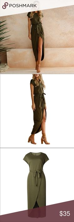 New summer dress ankle-length short sleeve 👗 Material - polyester  👗 Style - casual 👗 Silhouette - loose 👗 Sleeve length - short 👗 Decoration - draped 👗 Dresses length - ankle-length 👗 Waistline - empire 👗 Neckline -  O-neck Dresses Midi