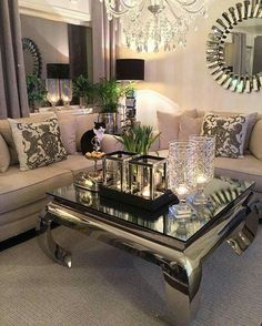 Living room inspiration, glam living room, beautiful living rooms, co Glam Living Room, Living Room Decor Cozy, Barn Living, Living Area, Living Room Remodel, Decorating Coffee Tables, Living Room Inspiration, Design Inspiration, Design Ideas