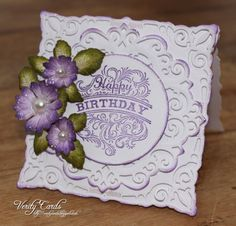 Birthday card made using Heartfekt. Creations stamps and dies and Spellbinders Adorning square die.