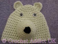 #Polar #Bear #Beanie #Hat #Newborn - 12 months ~ #Free #Crochet #Pattern ~ Crochet Addict UK. FP 3/15