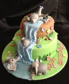 Elephant Waterfall Cake - by Caron @ CakesDecor.com - cake decorating website