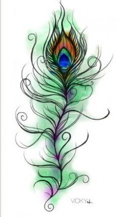 "Tattoo designs for ""Peacock feathers entangled with existing ..."