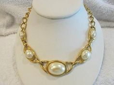 Vintage Retro Bold Faux Oval  Pearl Gold Tone by MemawsTopDrawer, $22.00