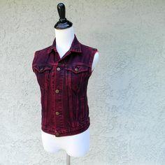 Vintage 80s Hot Pink Acid Wash Distressed Denim Jeans Vest/Top/Blouse - Vintage Upcycled Jean Jacket - Urban Punk Rockabilly - xs/0. $22.00, via Etsy.
