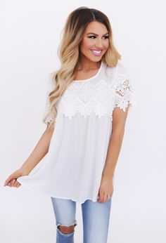 Off White Crochet Front Top - Dottie Couture Boutique