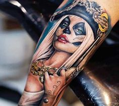Very pretty realistic colors tattoo of Pirate woman motive by Khan Tattoo