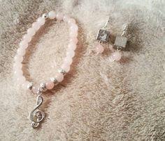 Conjunto de cuarzo rosa y plata de ley