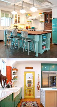 25 Gorgeous Kitchen Cabinet Colors & Paint Color Combos 25 most gorgeous paint color palettes for kitchen cabinets and beyond. Easily transform your kitchen with these all-time favorite colors and great designer tips! – A Piece Of Rainbow Green Kitchen, Kitchen Redo, New Kitchen, Kitchen Remodel, Kitchen Island, Design Kitchen, Country Kitchen, Kitchen Paint Colors, Colorful Kitchen Cabinets