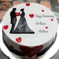Happy Marriage Anniversary Cake, Anniversary Cake Pictures, Anniversary Cake With Photo, Anniversary Cake Designs, Happy Wedding Anniversary Wishes, Kue Anniversary, Simple Anniversary Cakes, Anniversary Crafts, Wedding Anniversary Photos