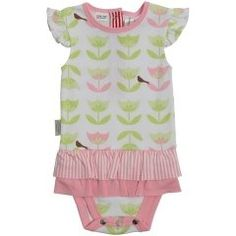 Summery play suit with a double frill in pink and pink and white stripe. Frill over the shoulder and metal fasteners down back for easy dressing. The fabric is white with an all over pattern of pink and green tulips. 100% cotton and machine washable.