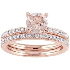 14k Rose Gold Morganite & 5/8 Carat T.W. Diamond Engagement Ring Set ($5,875) ❤ liked on Polyvore featuring jewelry, rings, accessories, pink, diamond rings, round diamond ring, pave engagement rings, pink diamond ring and rose gold engagement rings