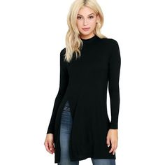 Eyes On Me Black Long Sleeve Tunic Top ($32) ❤ liked on Polyvore featuring tops, tunics, black, long sleeve tops, sexy tunic, long sleeve tunic, relaxed fit tops and side slit top