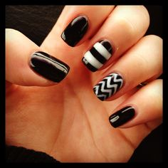 Black nails with white design. Gel manicure with chevron and stripe design