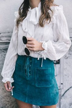 Turquoise Suede Lace Up Skirt Fall Streetstyle Inspo by Collage Vintage
