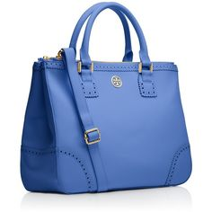 Tory Burch Robinson Spectator Double Zip Tote ($417) ❤ liked on Polyvore featuring bags, handbags, tote bags, ocean breeze, purses, blue leather handbags, leather tote handbags, tory burch handbags, evening handbags and leather tote