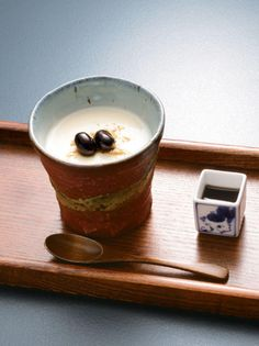 Soy Milk Pudding with Tanba Black Soybeans, served with Brown Syrup, Kyoto 丹波黒豆豆乳プリン