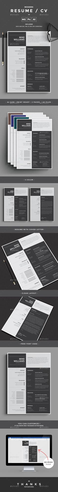 #Resume - Resumes #Stationery Download here: https://graphicriver.net/item/resume/20142318?ref=alena994