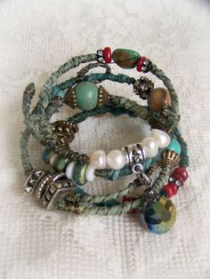 Turquoise Bangle Bracelet Stack Vintage Gypsy Boho by QueenBe