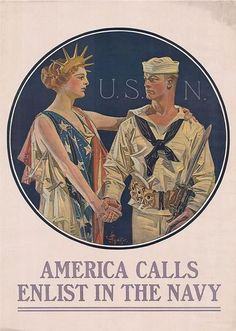 """This vintage World War II poster features Liberty shaking hands with a sailor. It reads, """"U. -- America Calls Enlist In The Navy"""". Celebrate and Naval History with this digitally restored vintage poster from The War Is Hell Store. Vintage Ads, Vintage Posters, Vintage Images, Vintage Prints, Go Navy, Navy Mom, Navy Life, Jc Leyendecker, Mundo Comic"""