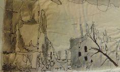 WW1 ruins, stitch and ink