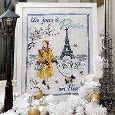 «Un jour à Paris en hiver» à broder au point de croix les brodeuses parisiennes