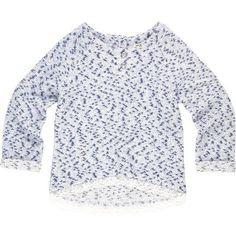 Mini girls blue lace hem top