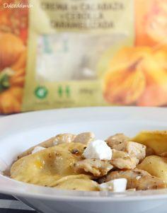 Ravioli de calabaza y cebolla caramelizada con pollo y queso de cabra