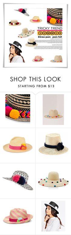 """tricky trend: pompom straw hats"" by esterp ❤ liked on Polyvore featuring YOSUZI, Missguided, Prymal, River Island, 7X and Natasha Zinko"