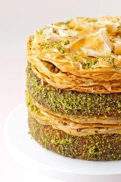 Pistachio Baklava Cake   #dessert #recipe from Ken via 'Hungry Rabbit', armenian + middle eastern food #dessertfoodrecipes