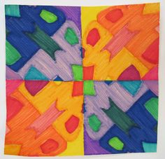 Initials with Symmetry and Warm & Cool Colors.  Middle School/Upper Elementary Project.