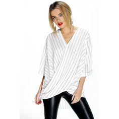 Boohoo Lucy Fine Stripe Wrap Front 3/4 Sleeve Blouse ($35) ❤ liked on Polyvore featuring tops, blouses, white, long sleeve jersey, long sleeve crop top, white crop top, white long sleeve blouse and flat top