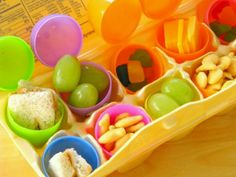 Healthy easter egg hunt! Hunt for their lunches. Cut up sandwiches, grapes, cheese etc instead of candy
